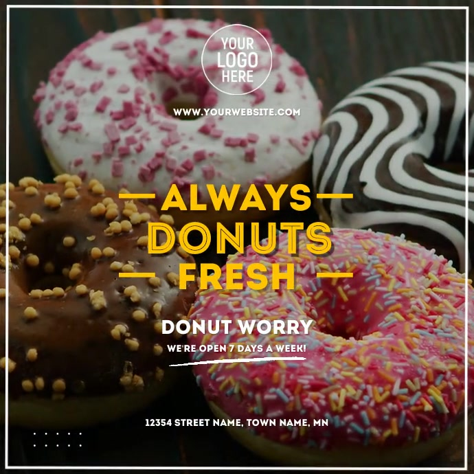 Fresh Donuts Video Ad Квадрат (1 : 1) template