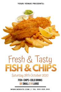 Fresh Fish & Chips Poster template
