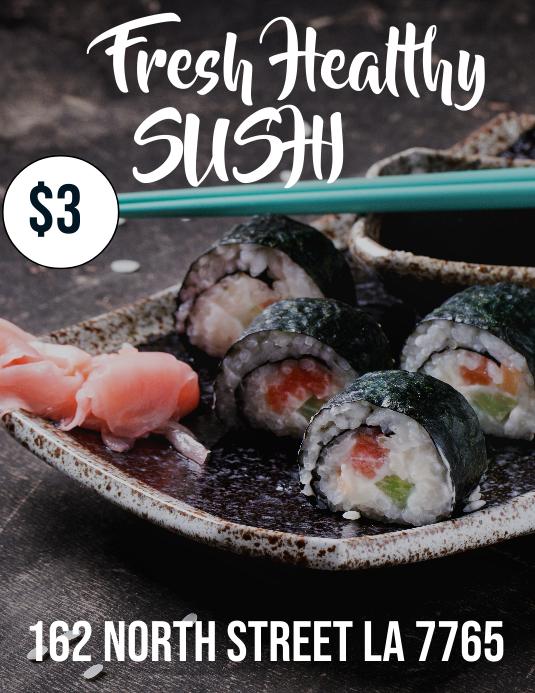 Fresh Healthy Sushi Løbeseddel (US Letter) template
