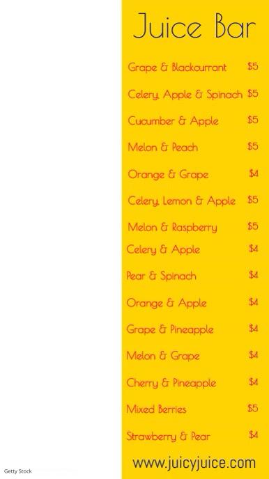 Fresh Juice Smoothie Bar Menu Template