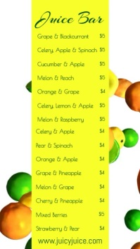 Fresh Juice Smoothie Bar Menu Template