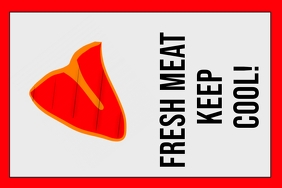 fresh meat keep cool - label sign