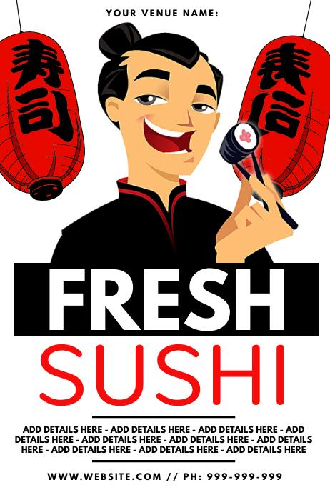 Fresh Sushi Poster Plakat template
