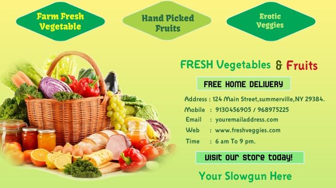 Fresh Vegetables & Fruits Banner Tampilan Digital (16:9) template