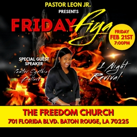FRIDAY FIRE REVIVAL CHURCH FLYER TEMPLATE