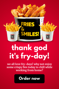 Friday Fries Online Promo Template Баннер 4' × 6'