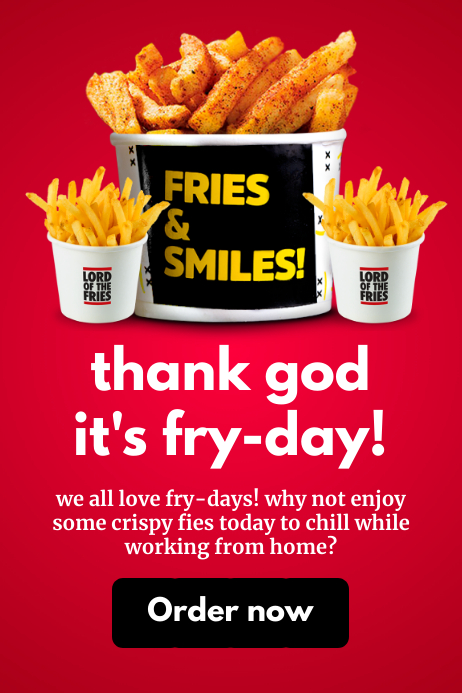 Friday Fries Online Promo Template Banner 4' × 6'