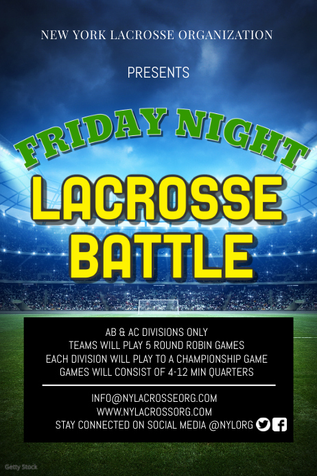 Friday Night Lacrosse Battle Poster Template