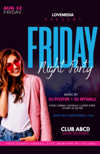 Friday Night Party Flyer Design Media Página Ancho template