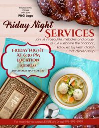 Friday Night - Shabbat Services Flyer (US Letter) template
