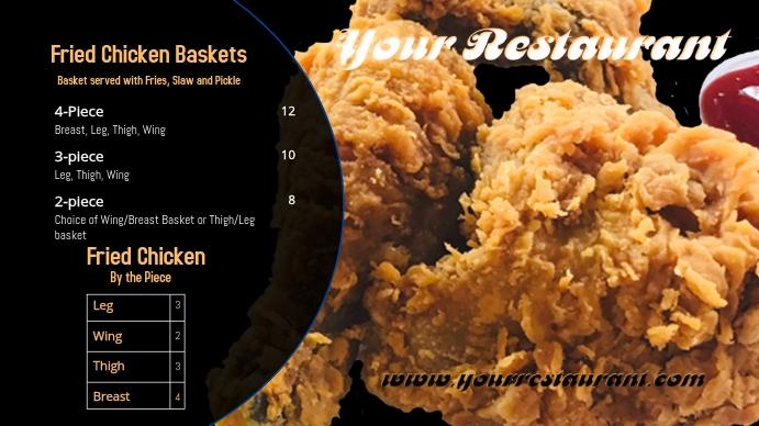 Fried Chicken Menu Three Digitale display (16:9) template