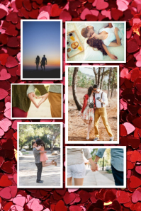 Friends couple romantic photo collage Poster template