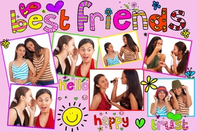 Friends Word Art Doodles Collage