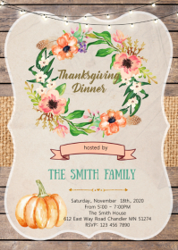 Friendsgiving feast party invitation A6 template