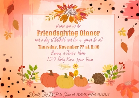 Friendsgiving Modern Invitation Postcard template