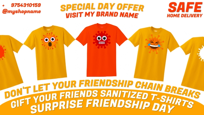 Friendship Covid-19 T-shirt Gift Template Facebook Cover Video (16:9)