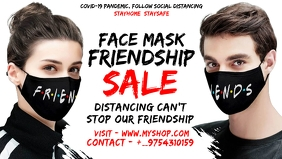 Friendship Day Face Mask Sale Template Video copertina Facebook (16:9)