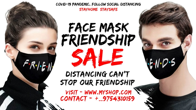Friendship Day Face Mask Sale Template วิดีโอหน้าปก Facebook (16:9)