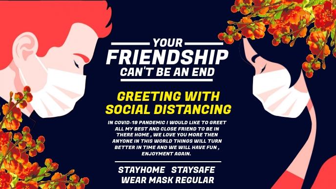 Friendship Day Greeting in Covid-19 Template Ikhava Yevidiyo ye-Facebook (16:9)