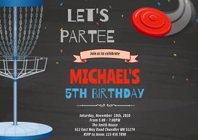 Frisbee Golf Birthday Invitation A6 template