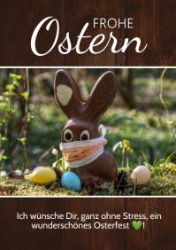 Frohe Ostern Greeting Card Corona Covid Bunny