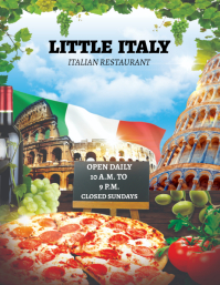 ITALIAN RESTAURANT MENU FRONT page