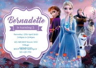 Frozen 2 Birthday Invitation with audio A4 template
