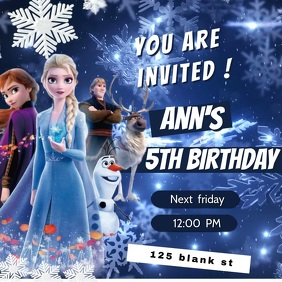 frozen birthday announcement template Square (1:1)