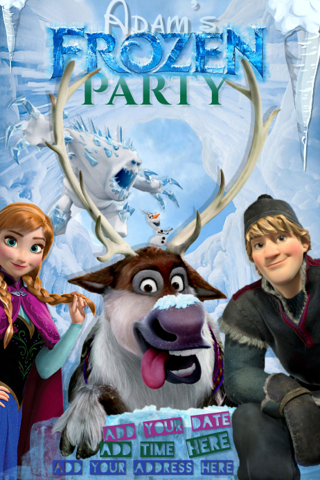 Frozen Birthday Invitation Boys Party Disney Olaf Deer Snow