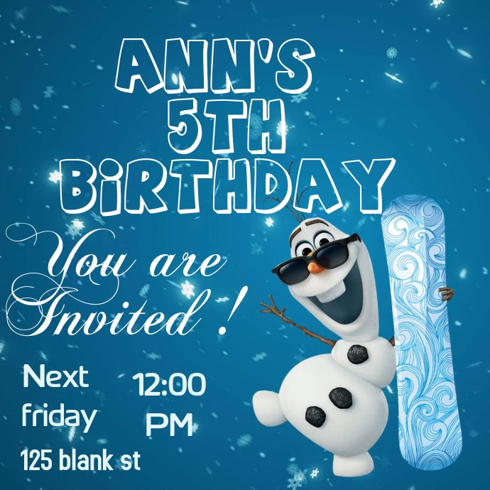 Frozen Birthday Invitation Card Template Postermywall