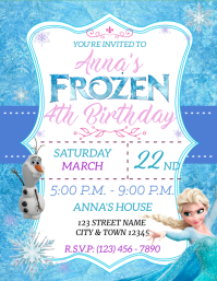 FROZEN BIRTHDAY INVITATION Pamflet (VSA Brief) template