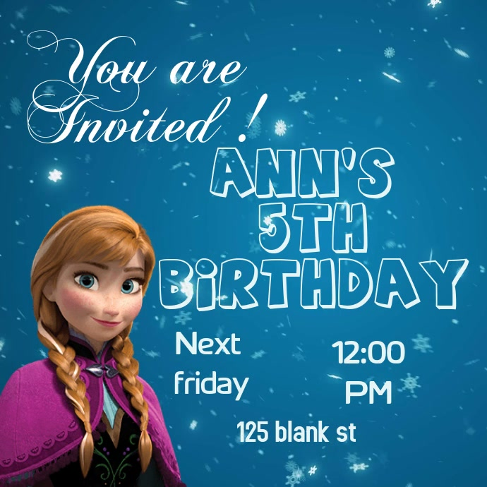 Frozen Birthday Invitation Template Postermywall