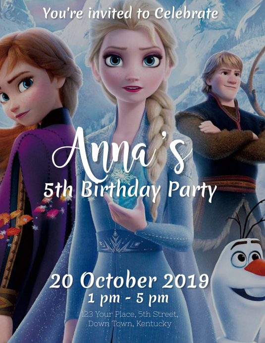 Frozen Birthday Party Event Flyer Template