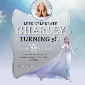 Frozen Birthday Party Invitation Template Square (1:1)