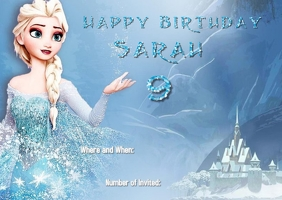 Frozen Elsa Birthday Invitation Poskaart template