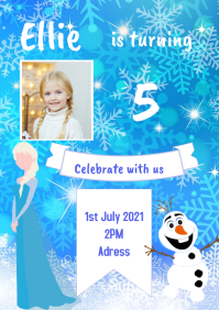 Frozen inspired party invitation A5 template