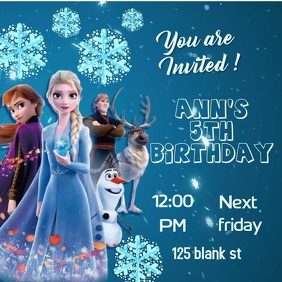 frozen invitation Square (1:1) template