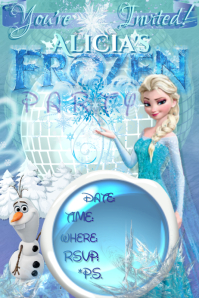 Frozen Invitation Elsa Olaf Disney Girls Winter Ice Party