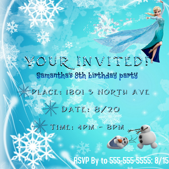 Frozen Invitation Template Postermywall