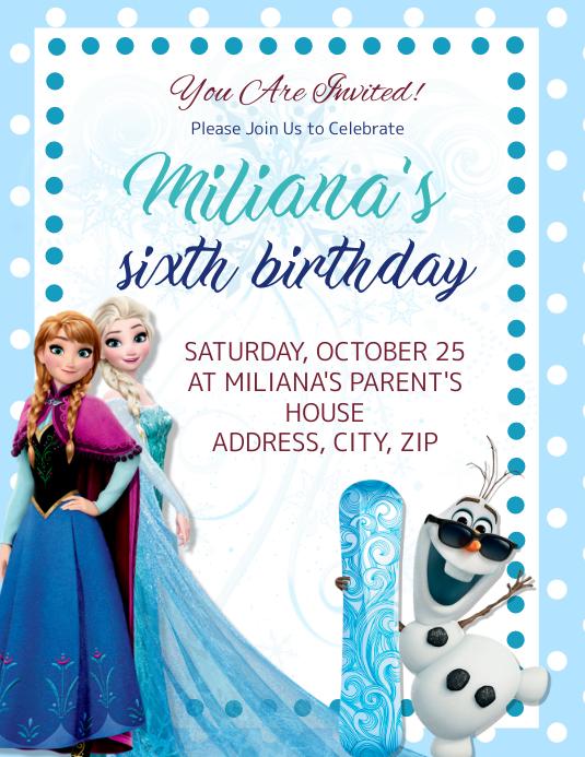 Frozen kids Birthday Invitation Template
