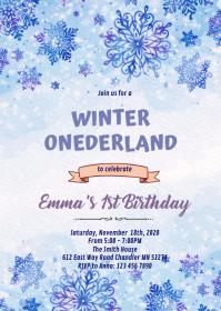 Frozen snowflake winter invitation A6 template