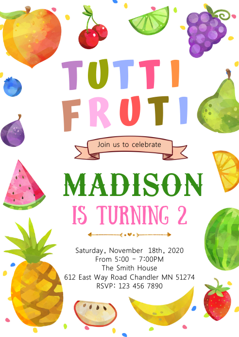 Fruit 2nd birthday birthday invitation A6 template
