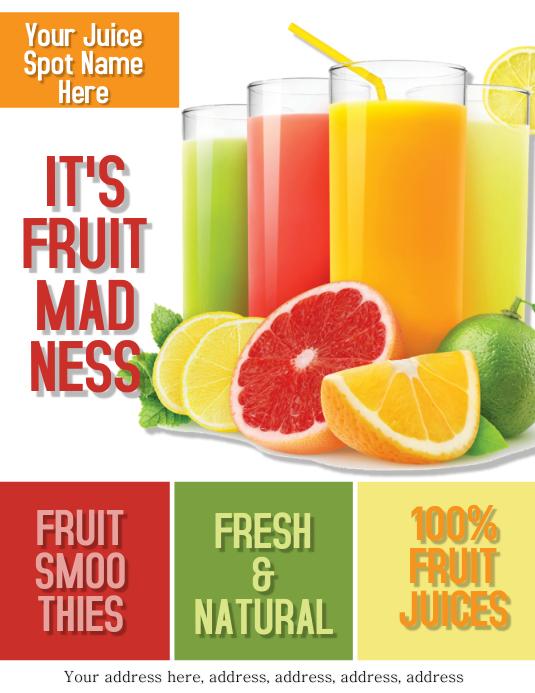 Fruit Juice Bar Flyer Template