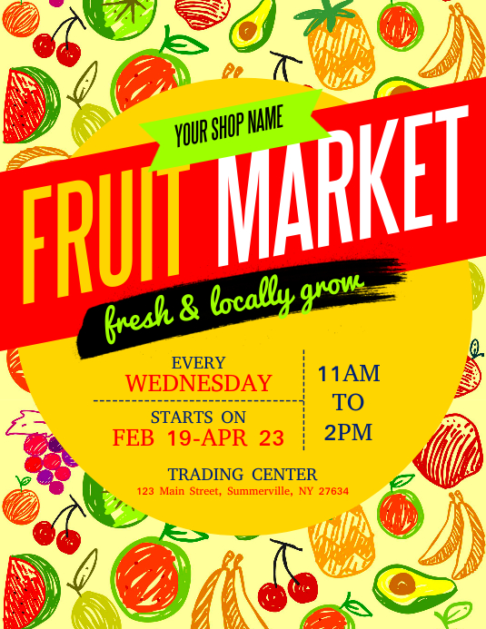 Fruit Market Flyer Volantino (US Letter) template