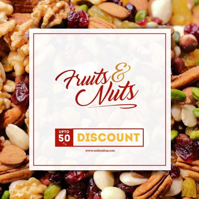 Fruits And Nuts Shop Ad Portada de Álbum template