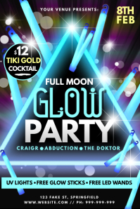 Full Moon Glow Party Poster