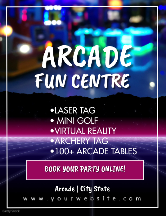 Fun Arcade Fun Center Flyer Ad Løbeseddel (US Letter) template