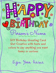 Fun Birthday Card Doodle Art Iflaya (Incwadi ye-US) template