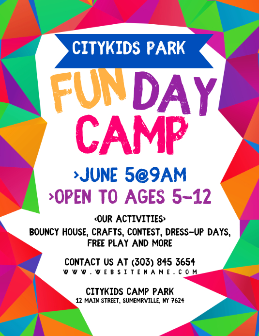 Fun Day Camp Flyer Volante (Carta US) template