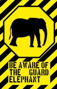 fun elephant sign - humouristic joke